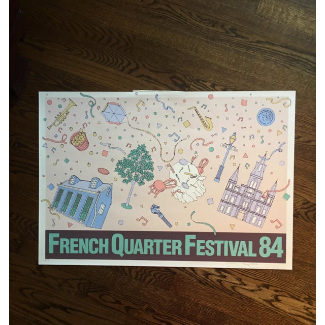 """Vintage """"French Quarter Festival 84"""" Lithographic Poster - Image 4 of 11"""