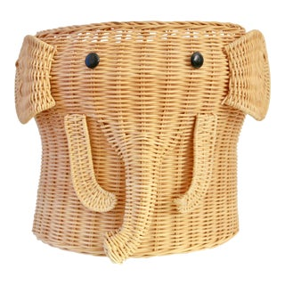 Woven Wicker Elephant Planter