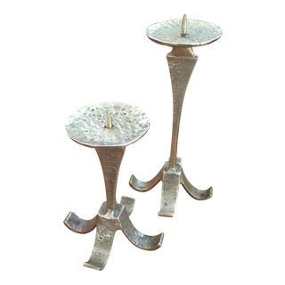 Mid-Century Brutalist Brass Candle Holders - A Pair