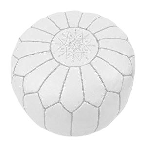 Traditional White Leather Pouf