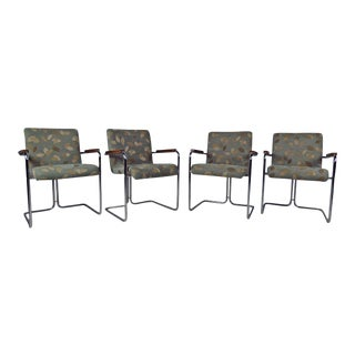 Contemporary Modern Tubular Steel Dining Chairs - Set of 4