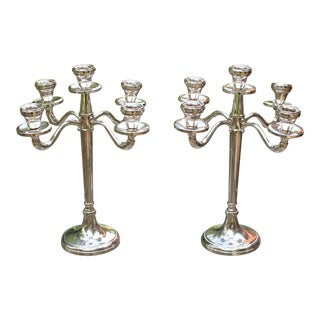 Italian Sterling Silver 5 Armed Candelabras - Set of 2