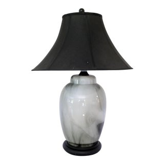 Mid Century Black & White Glass Marbled Table Lamp