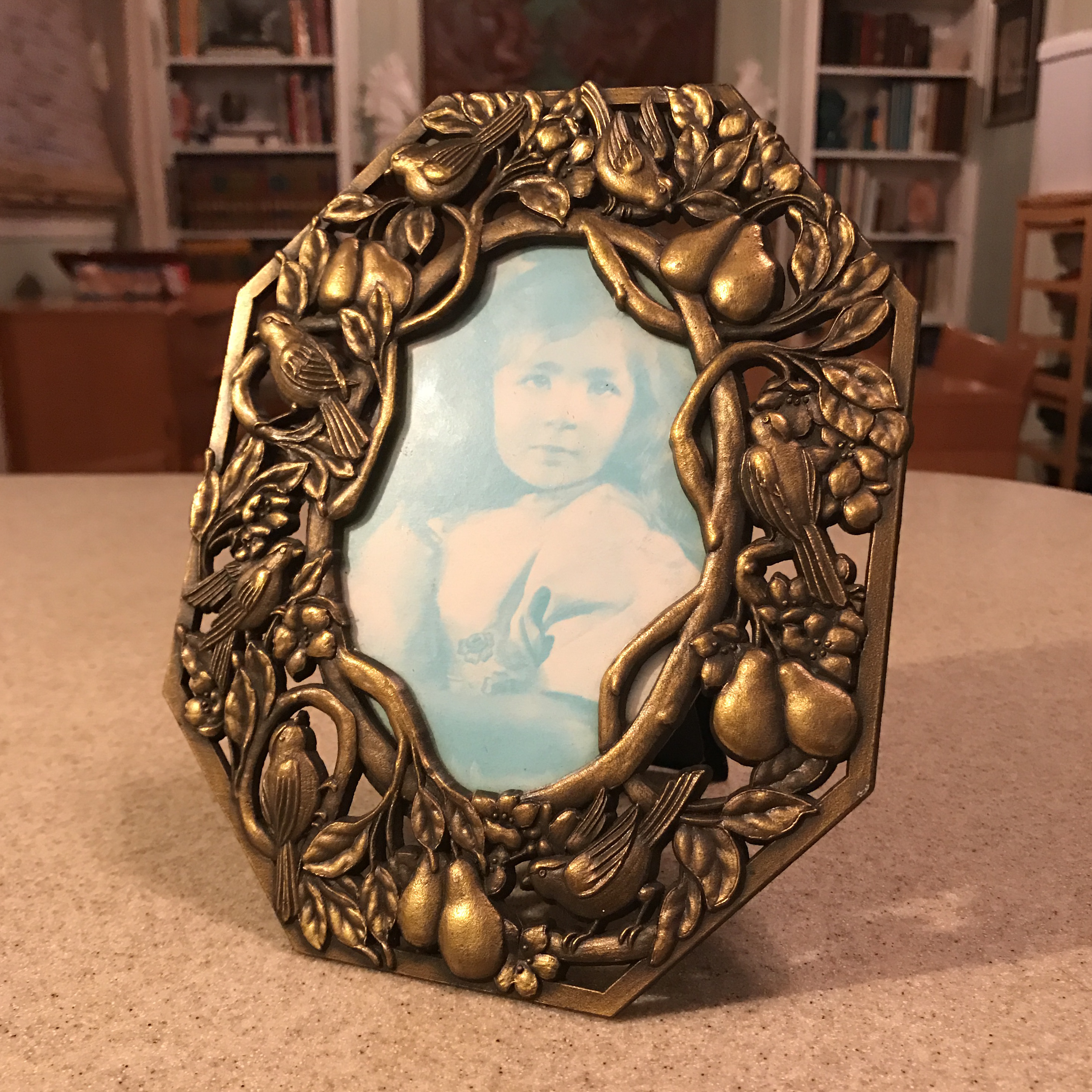 hair styles oval bird amp pears metal picture frame chairish 6175