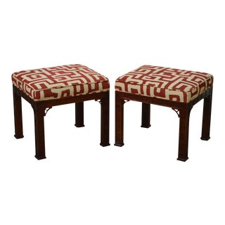 Kindel Pair of Mahogany Chinese Chippendale Style Stools Benches