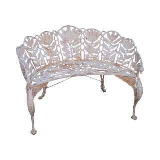 Antique Cast Iron Laurel Pattern Curved Garden Settee (After Coalbrookdale)