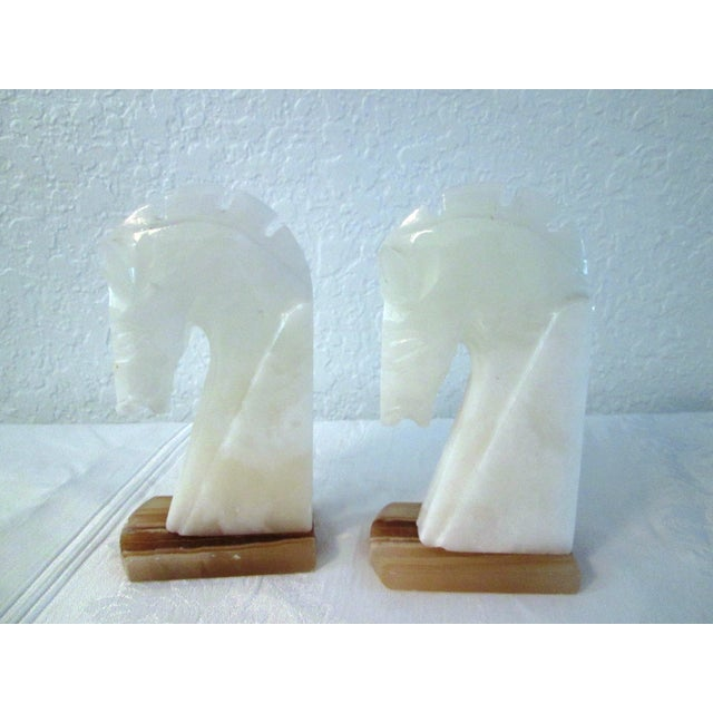 White Crystal Onyx Horse Head Bookends - Pair - Image 3 of 5