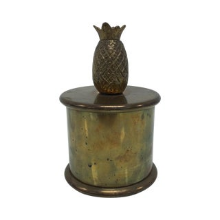Vintage Brass Round Box With Pineapple Lid