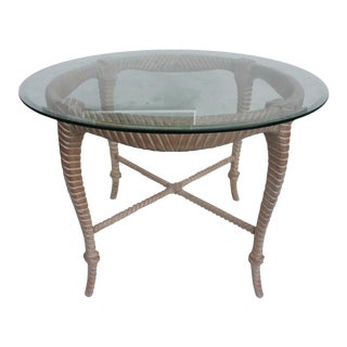Italian Hollywood Regency Carved Wood Rope & Tassel Dining Table