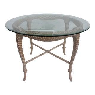 Italian Hollywood Regency Carved Wood Rope & Tassel Dining Table