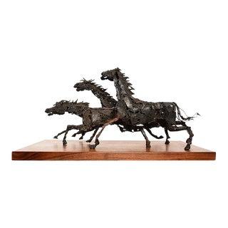 Brutalist Running Horses Sculpture
