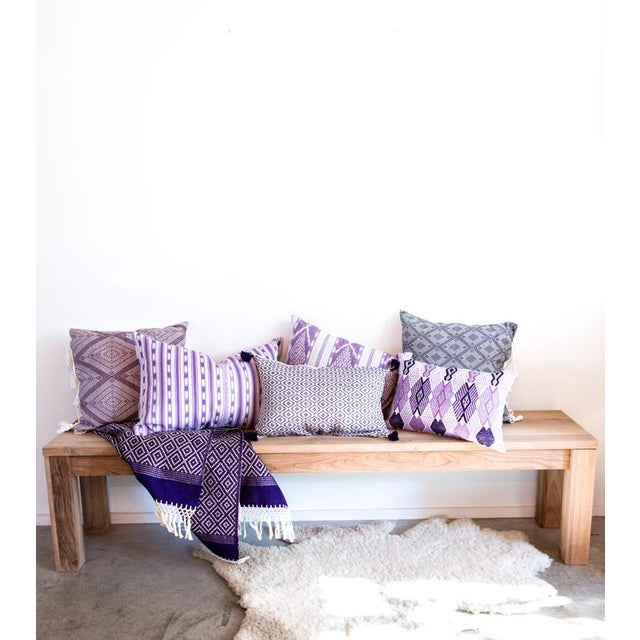 Handwoven Mexican Purple Pillow - Image 4 of 5