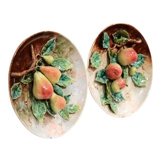 19th Century French Hand-Painted Barbotine Plates With Apples and Pears - A Pair