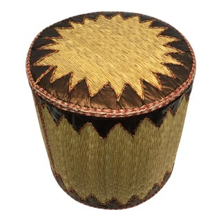 Handmade Tunisian Raffia Leather Ottoman