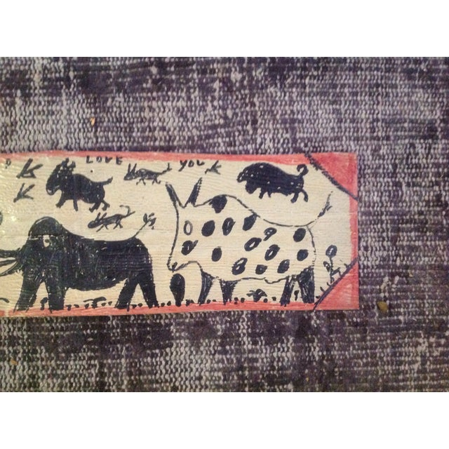 Image of Vintage Folk Art Primitive Native Painting