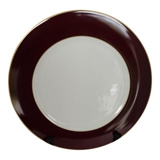 Elegant Burgundy & Gold White Charger/ Dinner Plate