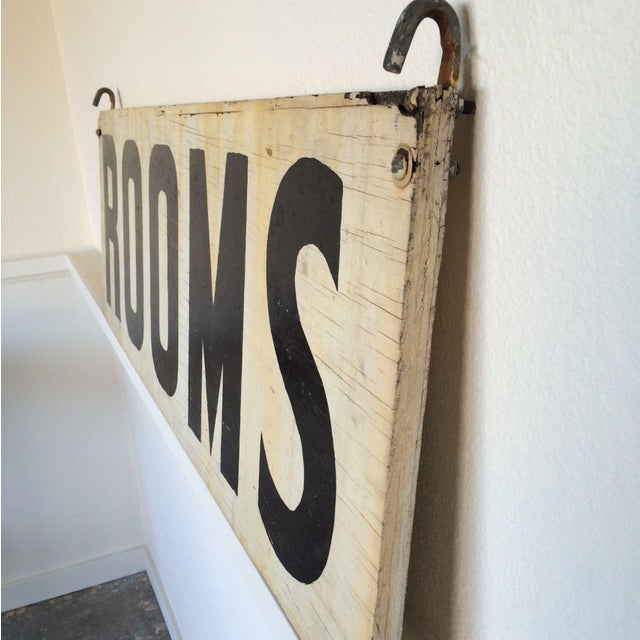 "Vintage Wood ""Rooms"" Sign - Image 4 of 6"