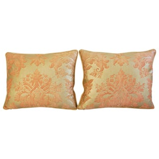 Italian Fortuny Glicine Gold Pillows - A Pair