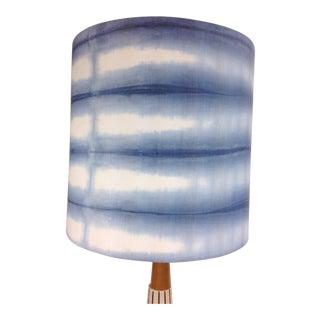 Indigo Blue Linen Modern Drum Lampshade