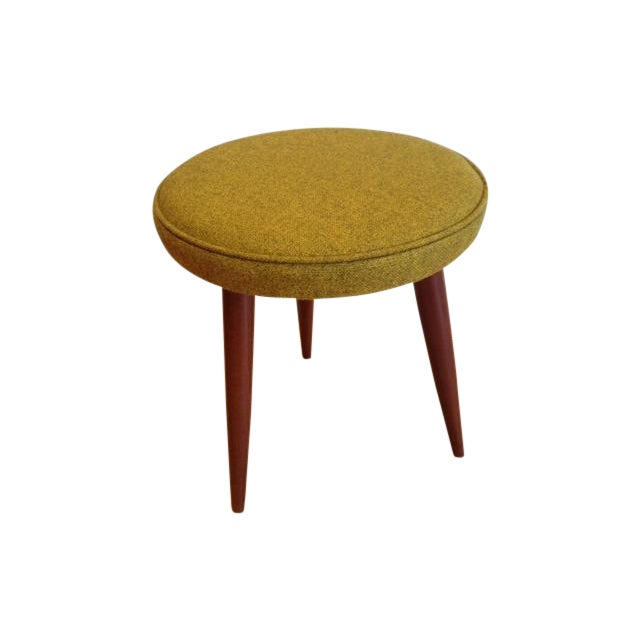 Image of Danish Modern Ottoman in Chartreuse Fabric