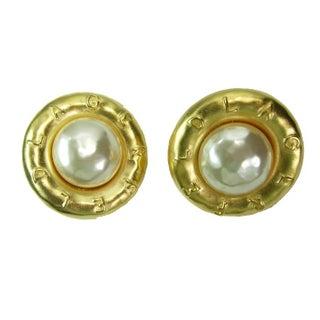 Huge 1980s Karl Lagerfeld Logo Faux Pearl Earrings