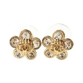Chanel CC Rhinestone Flower Piercing Earrings