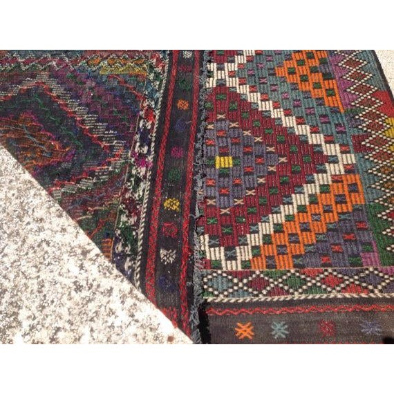 "Vintage Turkish Kilim Rug - 6'9"" X 11'4"" - Image 6 of 6"