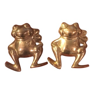 Brass Frog Figure Wall Hangings- A Pair