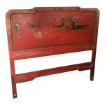 Image of Vintage Chinoiserie Styled Wooden Headboard