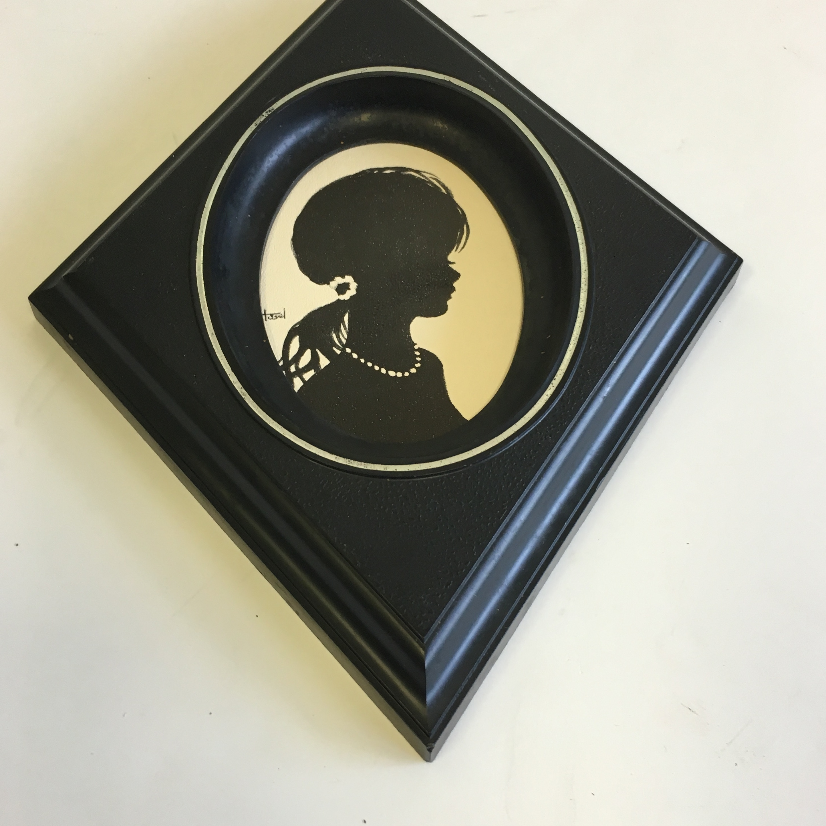 Vintage Diamond Framed Silhouette Girl With Pearls Chairish