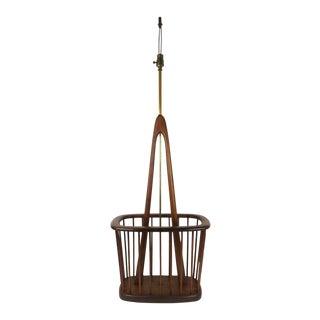 Mid-Century Danish Modern Teak Floor Lamp Magazine Rack