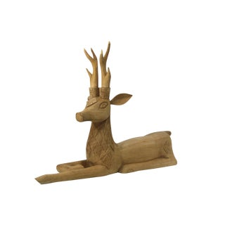 Life-Sized Carved Reclining Deer