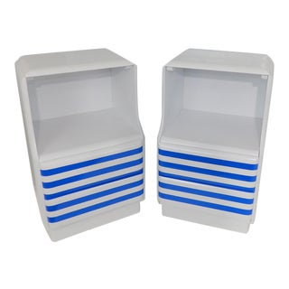 Mid-Century Modern White & Blue Striped Nightstands - A Pair