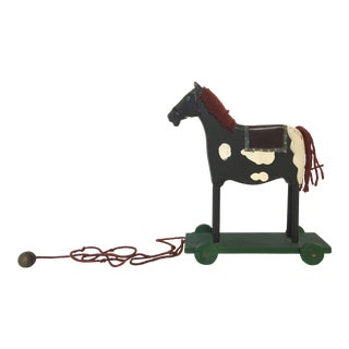 Primitive Folk Art Hand Painted Pull Horse