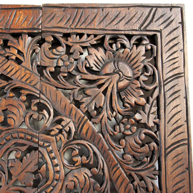 "Dark Wax Carved Square Panel 48"" - Image 3 of 3"