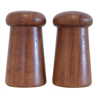 Danish Modern Carved Teak Salt & Pepper Shakers - a Pair