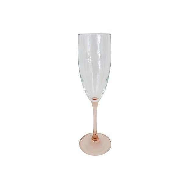 Image of French Pink Stemmed Champagne Flutes - S/4