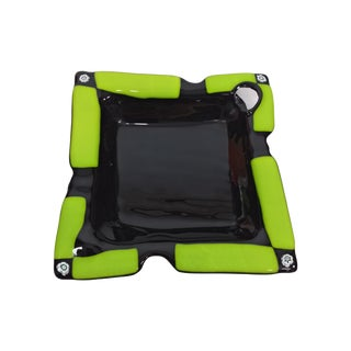 Green & Black Abstract Art Glass Catchall