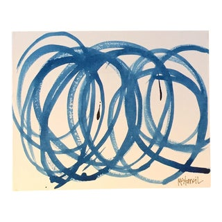 Blue Circles on Canvas Original Composition