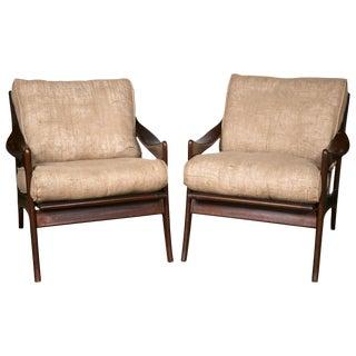 Danish Modern Burlap Armchairs - a Pair