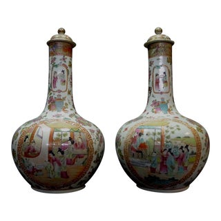 Large Chinese Famille Porcelain Vases - a Pair