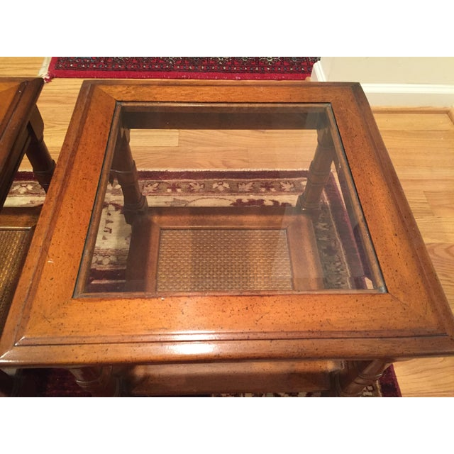 Wood & Glass Side Tables - A Pair - Image 4 of 6
