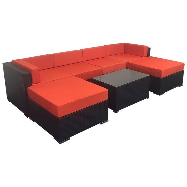Orange Wicker Patio Set - Image 1 of 10