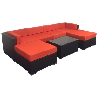 Orange Wicker Patio Set