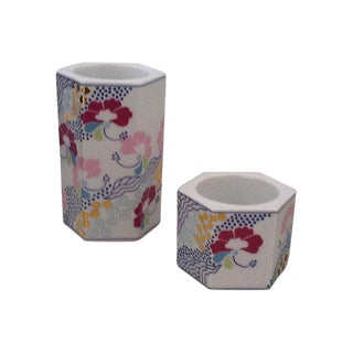 Danish Porcelain Candle Holders - A Pair