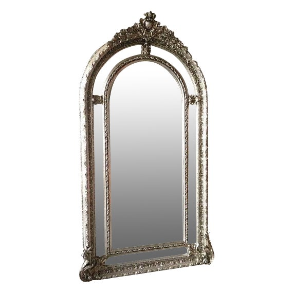 Silver French Louis XVI Style Floor Mirror - Image 1 of 4