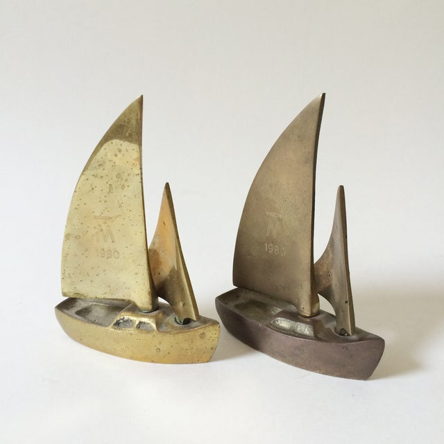 Image of Mid-Century Brass Sailboat Figurines - A Pair