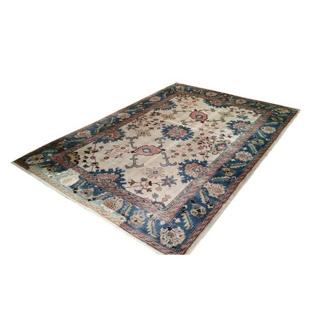 6′9″ × 9′10″ Antique Turkish Wool Oushak Handmade Knotted Rug - Size Cat. 6x9 7x10 - Image 3 of 4