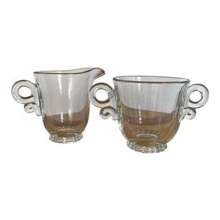 Heisey Glass Creamer & Sugar Bowl - A Pair