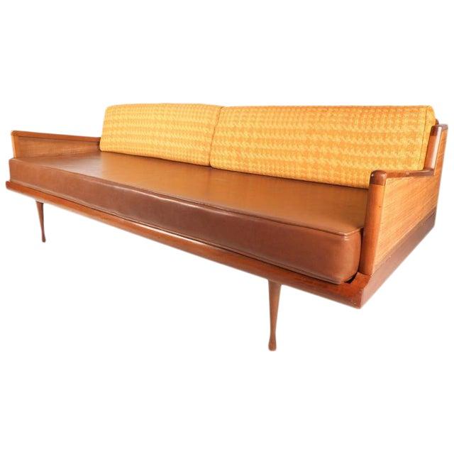 Mid-Century Modern Walnut and Cane Sofa - Image 1 of 7